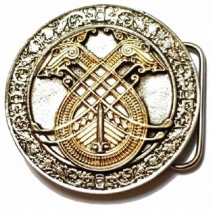 Celtic Longboat 24k Gold and Silver Plated Belt Buckle with display stand. Code RA3